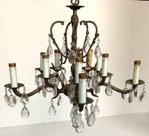 Ten Light Chandelier with Prisms