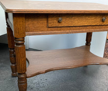 Load image into Gallery viewer, Oak Library Table with Single Drawer
