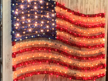 Load image into Gallery viewer, Large American Flag Tinsel & Lights Built on Metal Frame