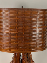 Load image into Gallery viewer, Cypress knee lamp with woven wooden oval shade