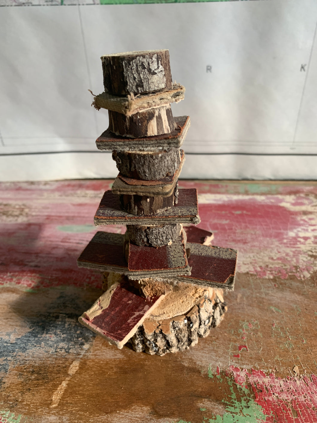 Mini tree made from book scraps & wood