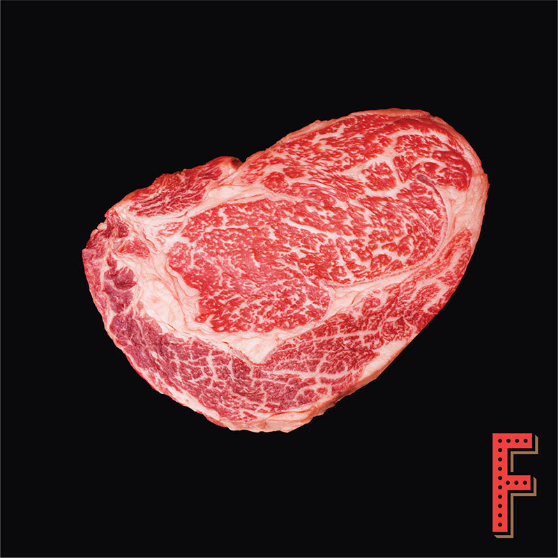 Australian Wagyu (M8+) Rib Eye STEAK (Frozen) 澳洲和牛 (M8+) 肉眼扒 (急凍) ~500 Grams / 17.5 Ounces - FEAST