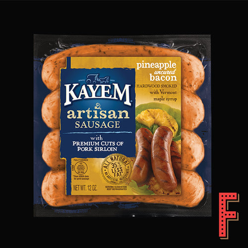 美國 KAYEM 菠蘿煙肉豬肉腸仔 (急凍) US KAYEM Pineapple Bacon Pork Sausage (Frozen) ~340g - FEAST