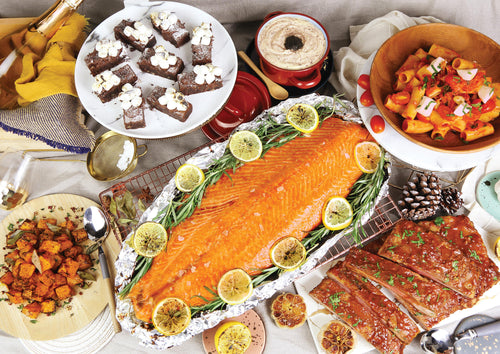 Salmon Party Set 香烤三文魚柳派對套餐 (Includes 2 Main Courses, 3 Side Dishes And 1 Dessert 包括2主菜, 3配菜及1甜品) (Serves 8-10 Persons / 8-10 人份量) - FEAST