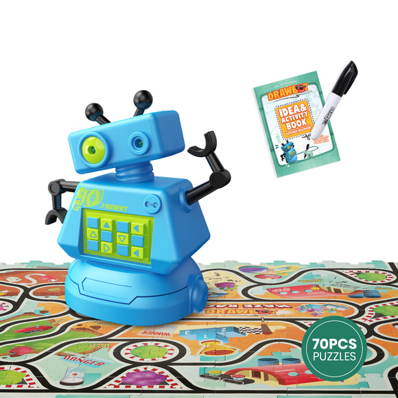 DEERC Robot for Kids Toddlers Mini Stem Toys Robot Kits with 70PCS Puzzle Game for Boys and Girls,Preschool Learning Toys Follow Black Lines with Light Eyes, Birthday Party Gifts for Children
