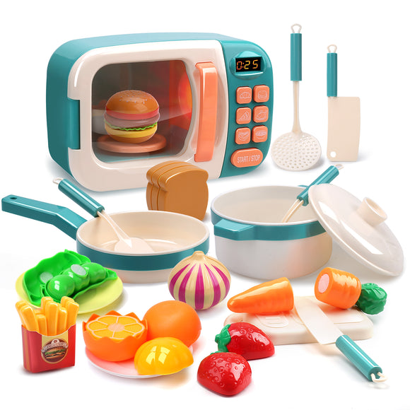 CUTE STONE Microwave Toys Kitchen Play Set,Kids Pretend Play Electronic Oven with Play Food,Cookware Pot and Pan Toy Set, Cooking Utensils,Great Learning Gifts for Baby Toddlers Girls Boys