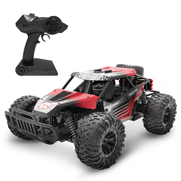 DEERC DE37 Remote Control Car 1/16 Scale RC Cars, 20 KM/H RC Truck for Kids Adults, All Terrains Off Road Monster Truck, 30 Min Running Time Outdoor Cars Toy for Boys & Girls, Color Red