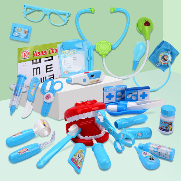 CUTE STONE Toy Medical Kit, 30PCS Kids Pretend Play Dentist Doctor Kit with Electronic Stethoscope Toy and Carrying Case, Role Play Educational Toy Doctor Playset for Toddler Boys Girls