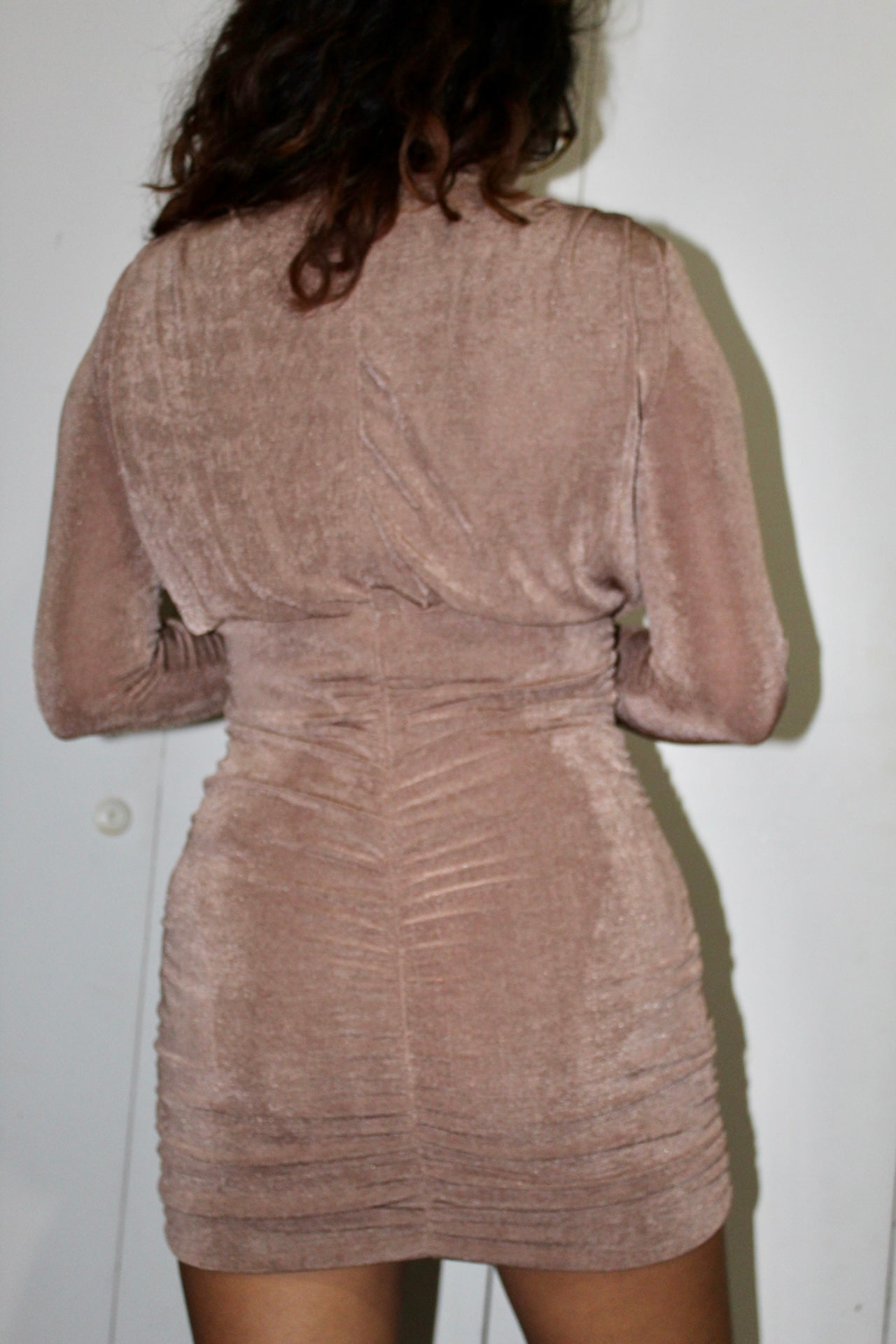 Golden Nights Ruched Dress