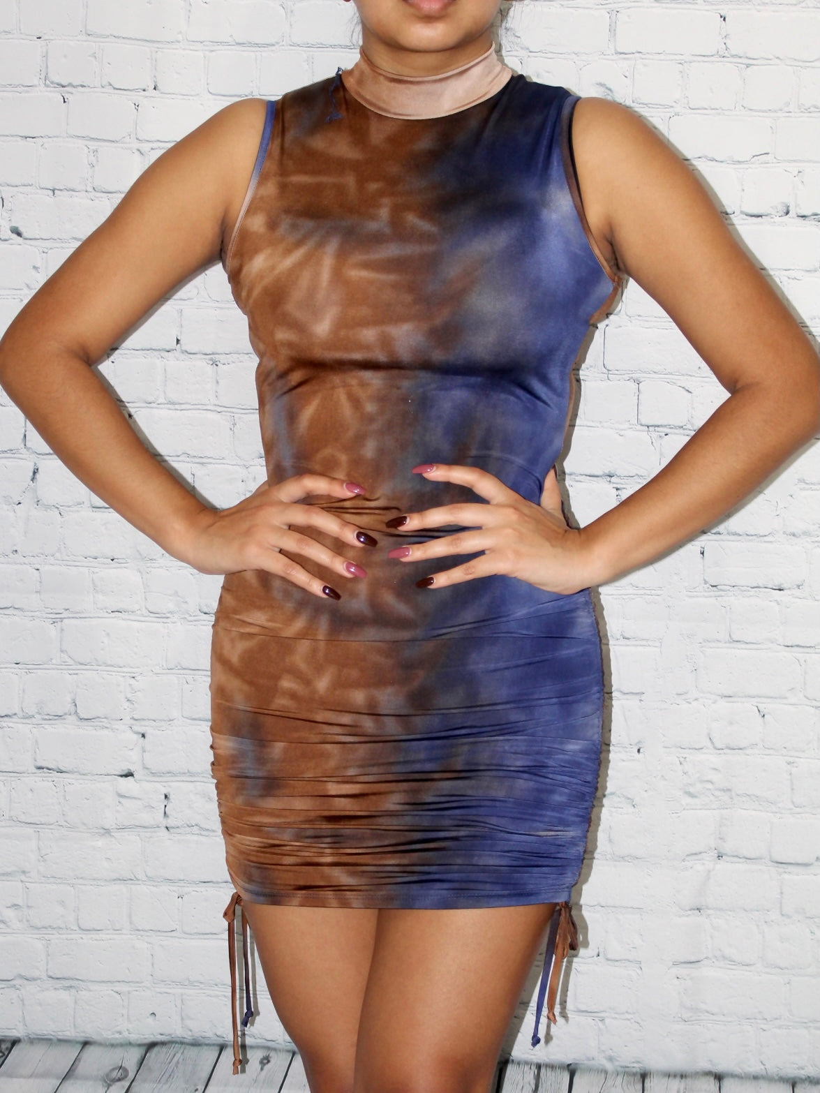 Yanet Dress - Blue/Taupe