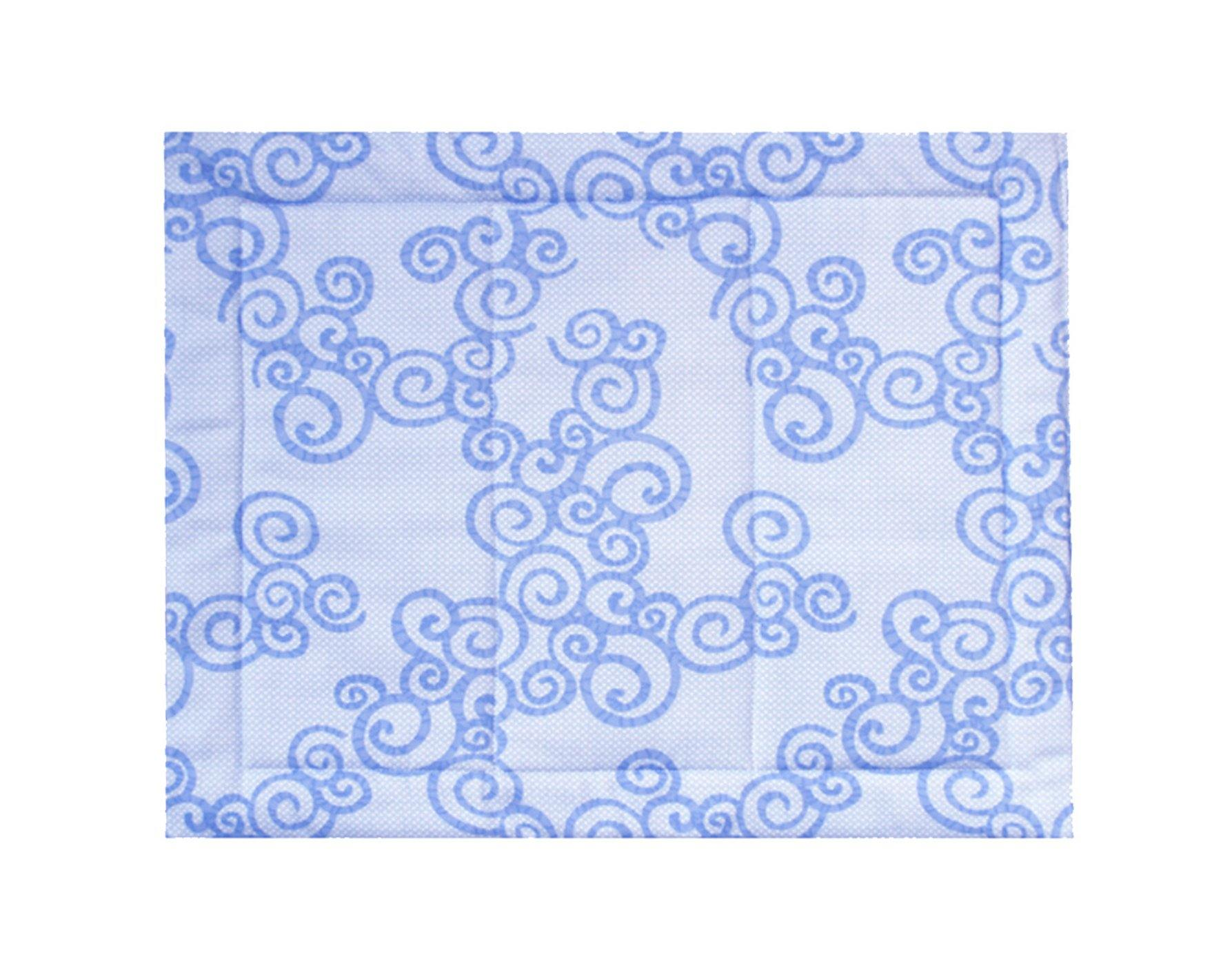 blue pattern on blue dog crate mat