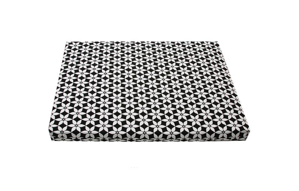 latex orthopedic dog bed black white pattern