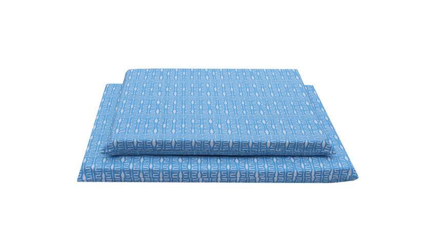 organic cotton dog bed cover in blue pattern