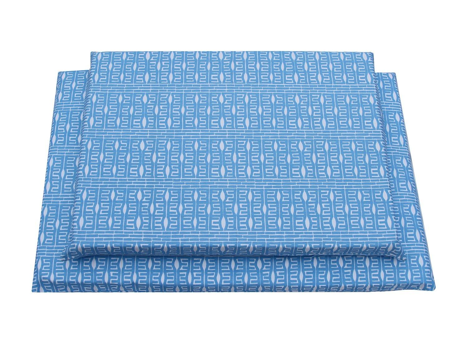 top view blue and white modern pattern latex dog mat