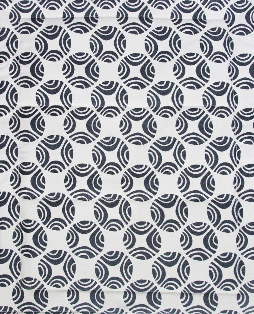 organic cotton fabric close up black and white picasso pattern