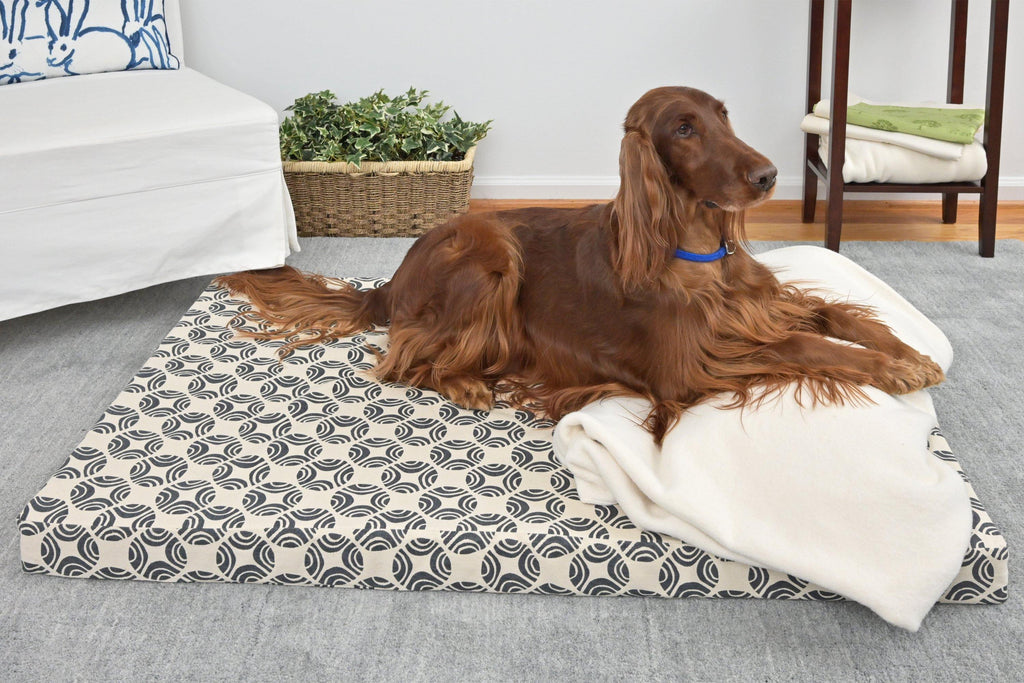 brown dog laying on organic cotton dog bed cover picasso denim