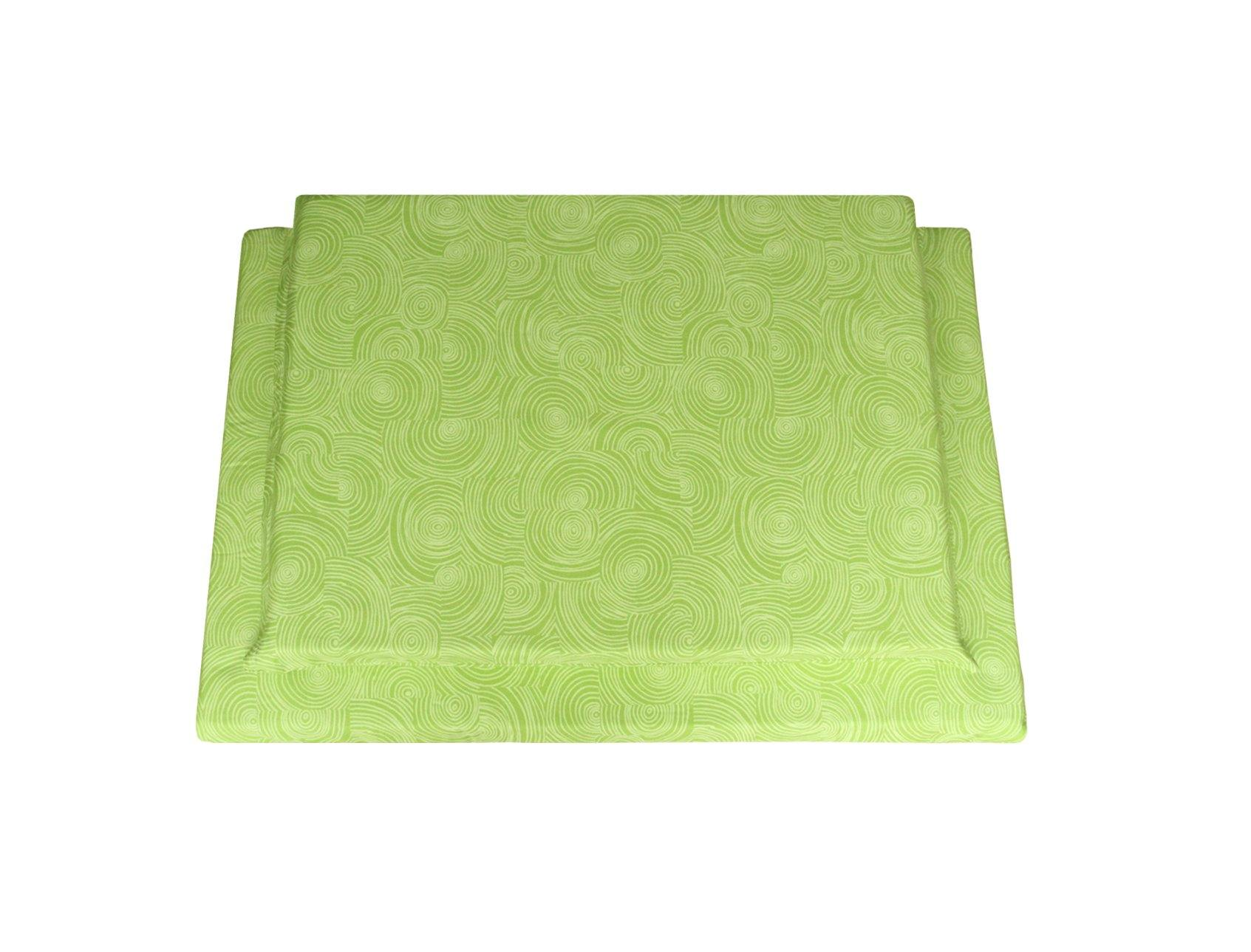 organic cotton dog mat in lime with swirl pattern