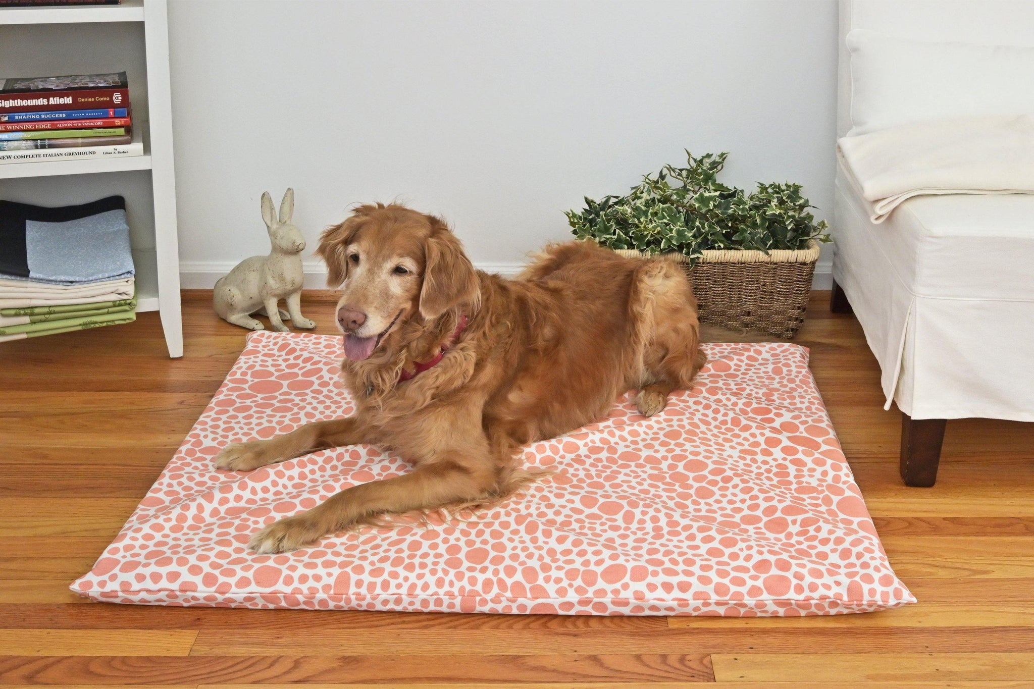Golden retriever on a coral colored organic dog mat