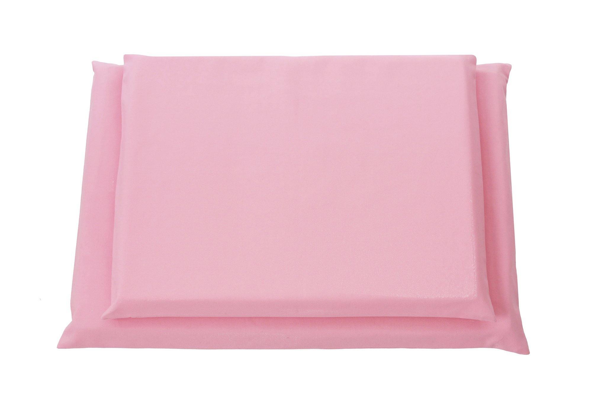 top view of pink organic dog mat covers
