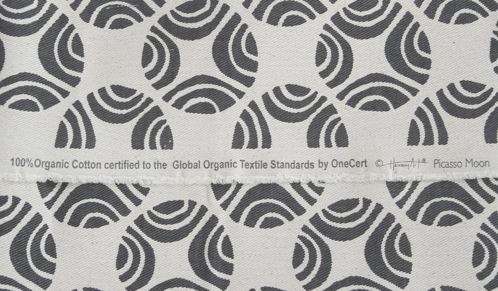 organic cotton fabric close up in black and white picasso print