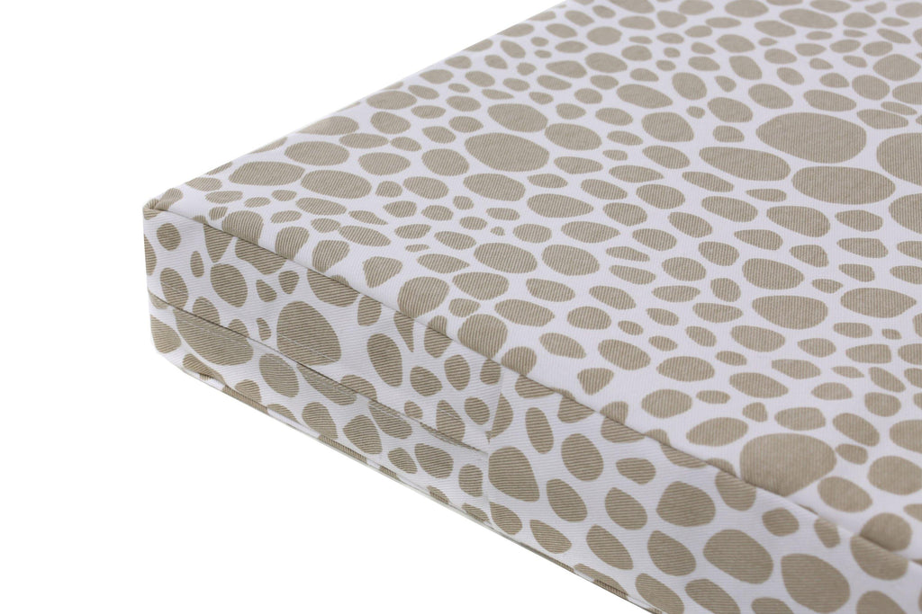 orthopedic dog bed in light brown circle pebble pattern