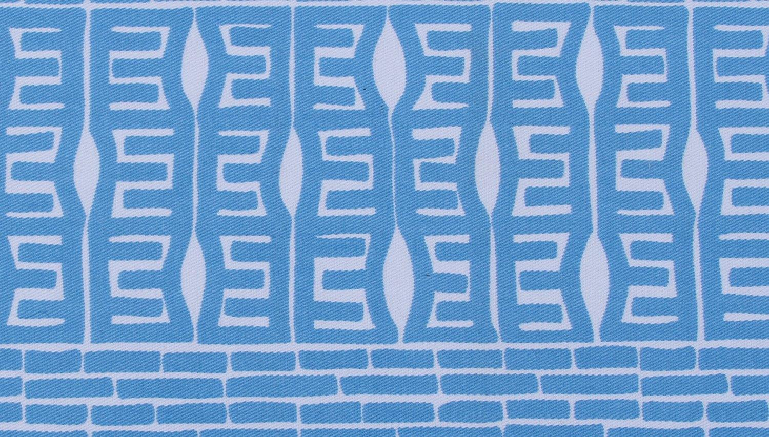 closeup of blue and white organic cotton fabric
