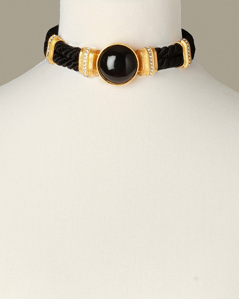 Black Aries Costume Statement Necklace