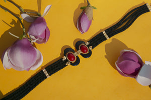 Black Twisted Red Aries Statement Belt
