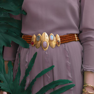Burnished Brown Twisted Shield Statement Belt
