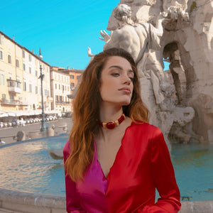 Red Aries Costume Statement Necklace
