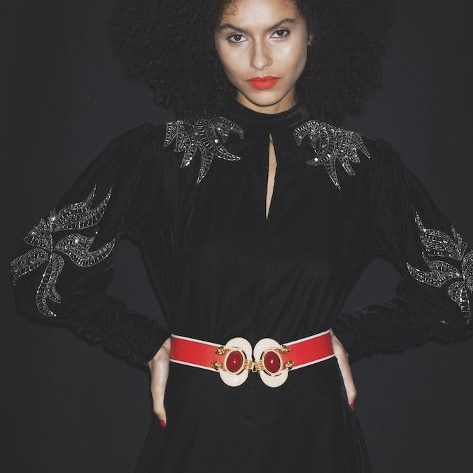 Red Leather Red Aries Statement Belt