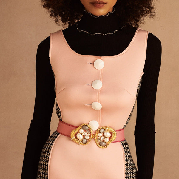 Pearl Gold Pink Swan Statement Belt