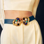 Load image into Gallery viewer, Blue Gold Blue Swan Statement Belt