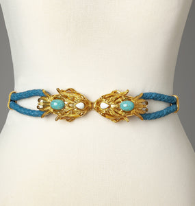 Blue Gold Dragonfish Statement Belt