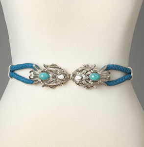 Blue Silver Dragonfish Statement Belt