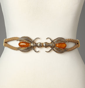 Beige Scarab Statement Belt