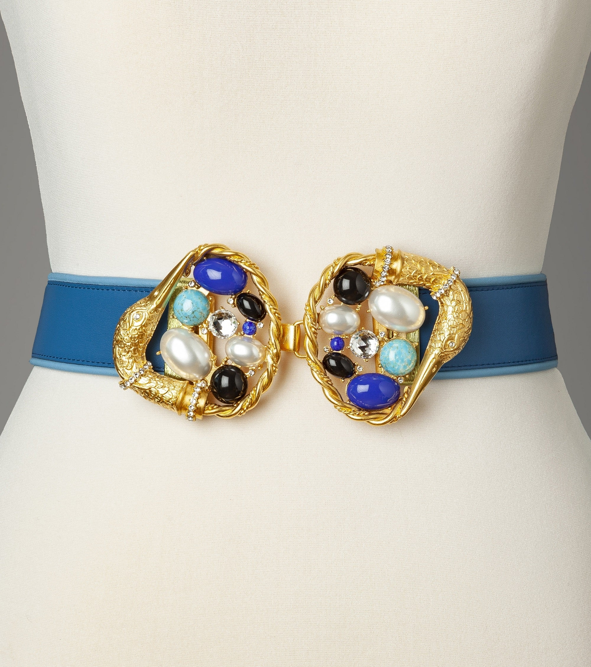 Blue Gold Blue Swan Statement Belt