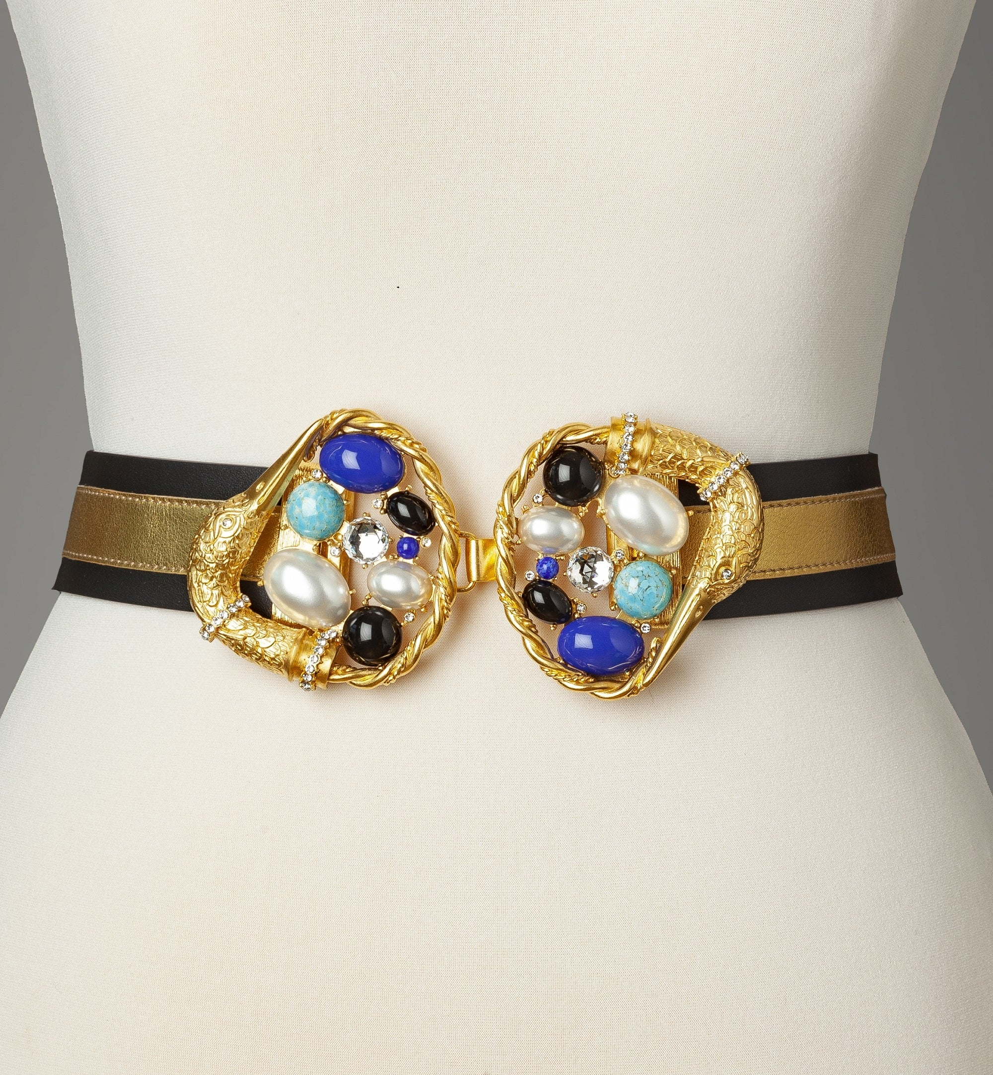 Blue Gold Gold Swan Statement Belt
