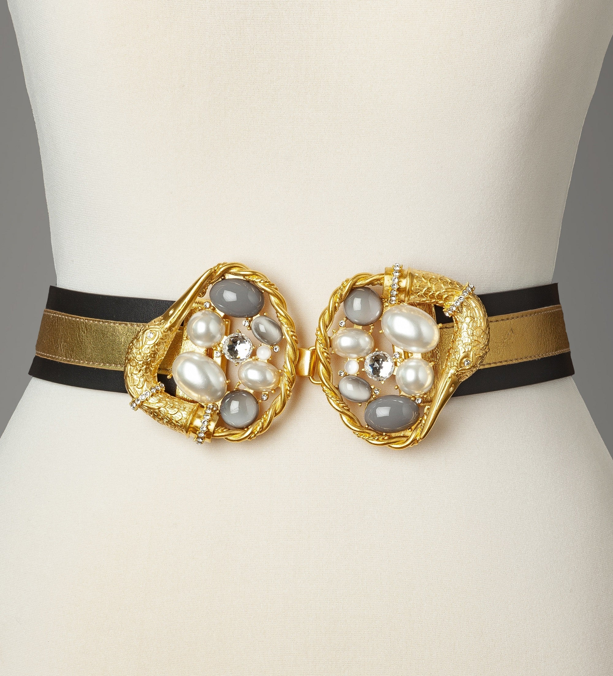 Pearl Gold Gold Swan Statement Belt