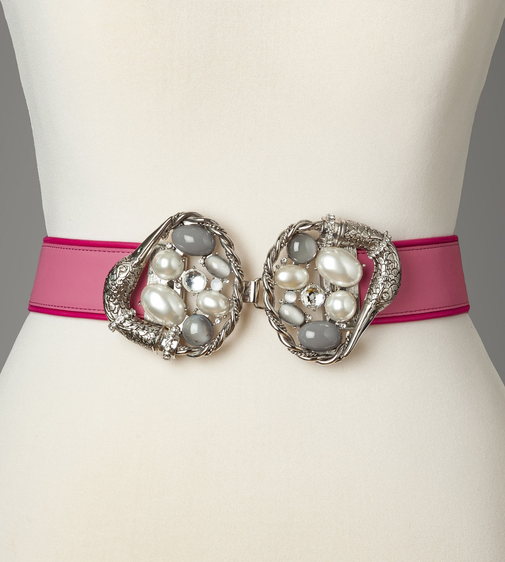 Pearl Silver Pink Swan Statement Belt