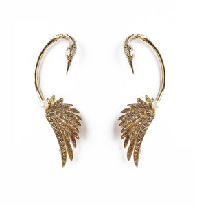 Gold Swan Luxury Earrings