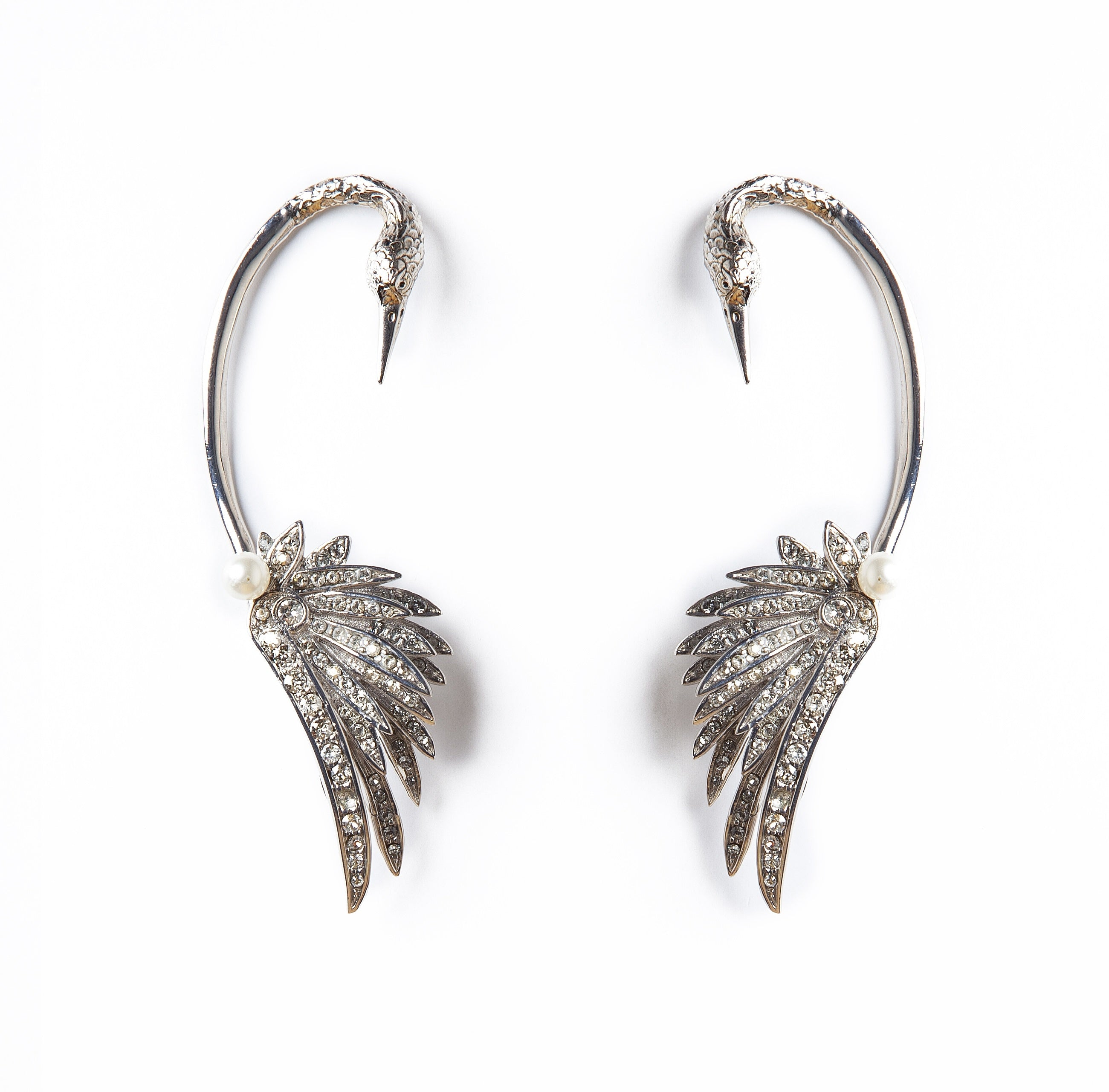 Silver Swan Luxury Earrings