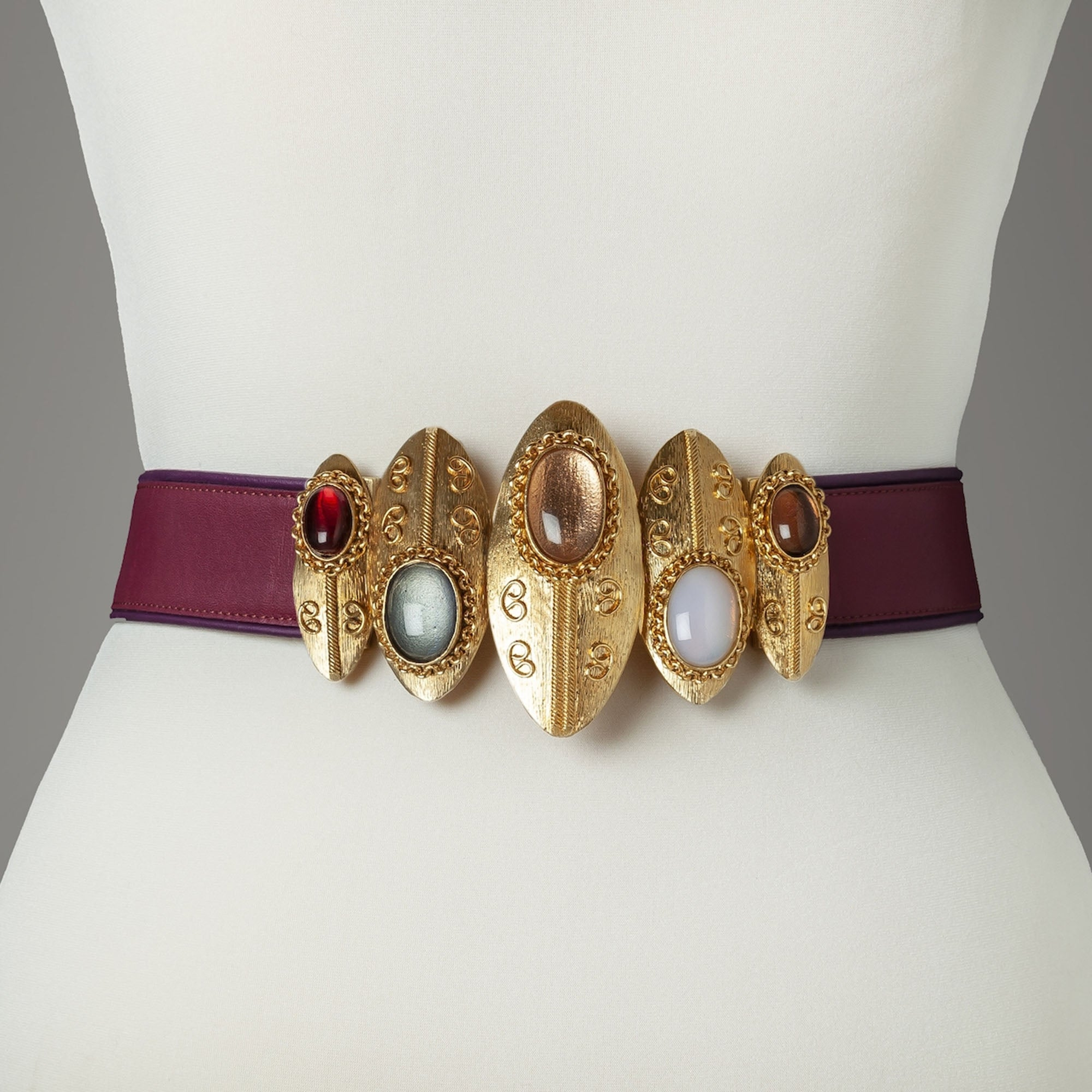 Burgundy Shield Statement Belt