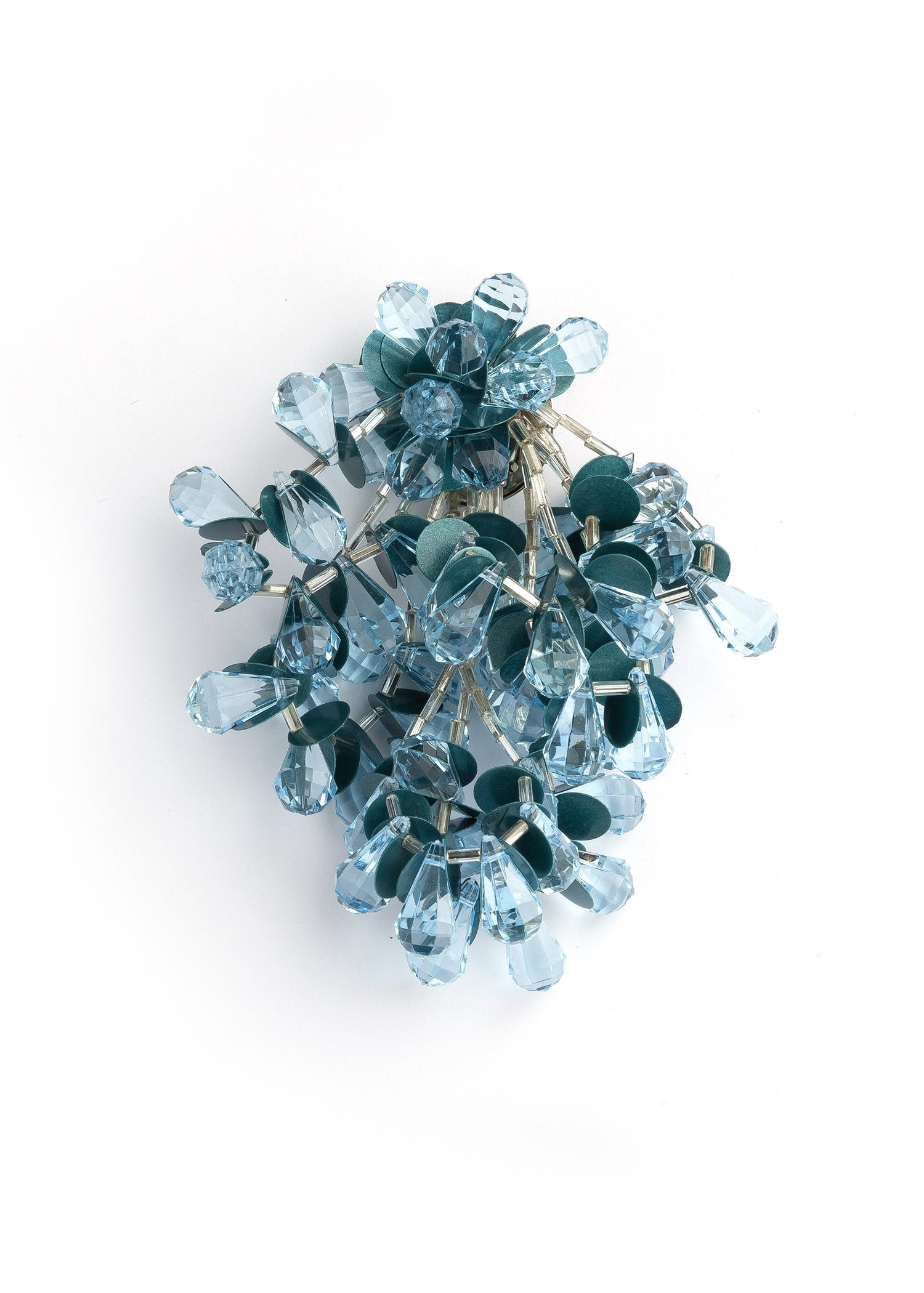 Blue Pom Pom Costume Brooch