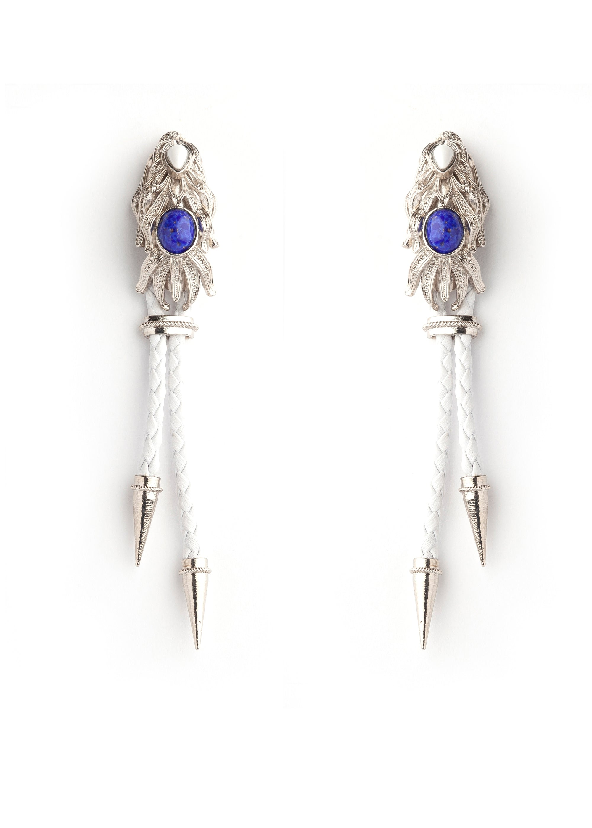 White Silver Dragonfish Luxury Earrings