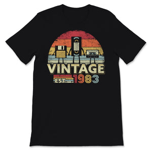 1983 Print. Vintage Birthday Gift, Funny Music, Tech Unisex T-Shirt