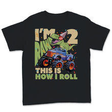 Load image into Gallery viewer, Kids 2nd Birthday, 2 Year Old Design. T-Rex, Dinosaur Truck Youth Tee