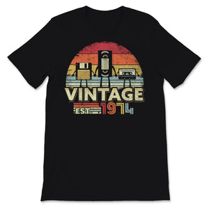 1974 Print. Vintage Birthday Gift, Funny Music, Tech Unisex T-Shirt