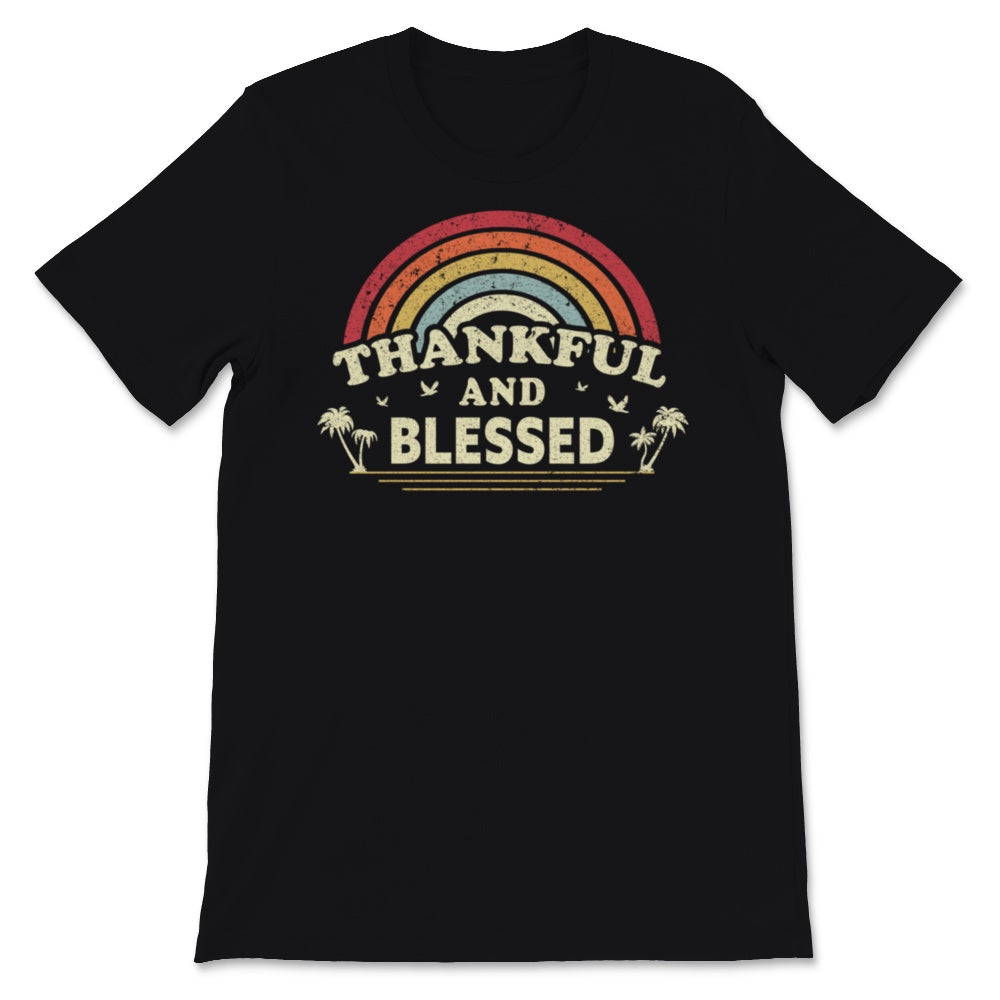 Thankful And Blessed Graphic. Retro Style Thanksgiving Unisex T-Shirt