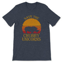 Load image into Gallery viewer, Save The Chubby Unicorns Print. Retro Style Premium Unisex T-Shirt